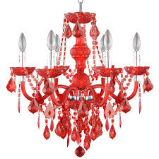 hampton bay crystal chandelier hampton bay maria theresa 6 light chrome and red acrylic