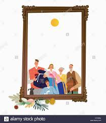 thanksgiving day traditions copy space frame with a family in korean traditional clothes and