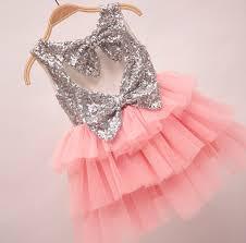 the gigi shimmer silver sequin bow baby toddler dress light