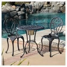 Black Cast Aluminum Patio Furniture Thomas 3pc Cast Aluminum Patio Bistro Set With Ice Bucket Black