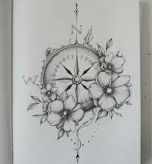 gorgeous flower and compass tattoos popular girly tattoos