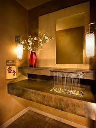 stunning powder room design ideas with natural sink and solid
