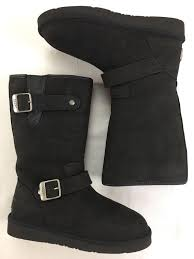ugg australia leather buckle mid ugg australia black sutter leather suede shearling moto buckle boots