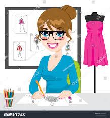 beautiful young fashion designer drawing dress stock vector