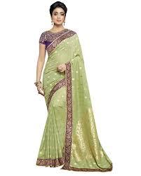 shop bollywood art banarasi silk saree in pista green colour from
