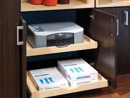 cachee bureau aménagement bureau maison placard bois massif fourniture imprimante