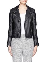 best leather motorcycle jacket whistles ziggy leather biker jacket in black lyst