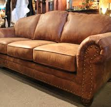 Distressed Leather Sofa by Rustic Leather Sofa Western Brown Leather Couch