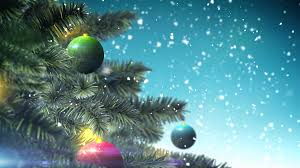 soft christmas tree with decoration ball on blue background loop