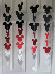 black red and white mouse style garland strand birthday party
