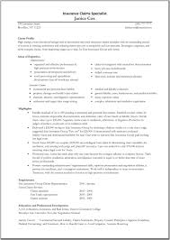 sample career profile the best insurance specialist resume sample recentresumes com