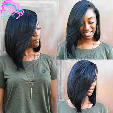 medium haircuts one side longer than the other layered human hair short bob wigs side part virgin malaysian full