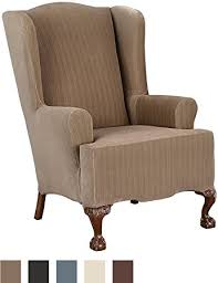 sure fit slipcovers wing chair amazon com sure fit stretch pinstripe wing chair slipcover