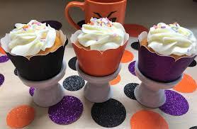 15 halloween glitter cupcake wrappers purple glitter orange