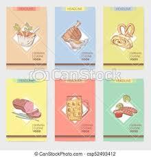 german cuisine menu german traditional food brochure templates vector