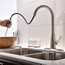 High Flow Kitchen Faucet by Friho Commercial Brushed Nickel Stainless Steel Single Handle High
