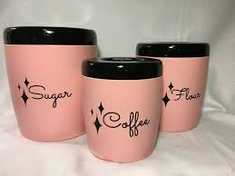 vintage style kitchen canisters 4 pink plastic canister set 1960s kitchen
