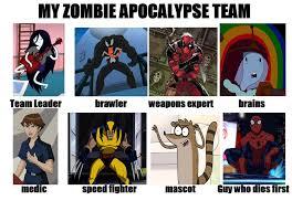 Zombie Team Meme - my zombie apocalypse team meme by markellbarnes360 on deviantart