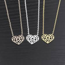 silver heart necklace wholesale images Wholesale 10piece stainless steel silver rose gold chain collares jpg