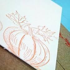 letterpress stationery orange pumpkin letterpress stationery with sewn envelope 5 pack