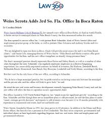 weiss serota adds 3rd s florida office in boca raton