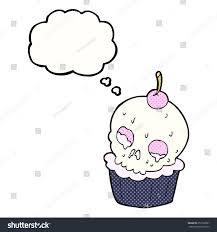 cartoon halloween images cartoon halloween cup cake thought bubble stock illustration