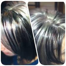 shag haircut brown hair with lavender grey streaks platinum blonde highlights with red and dark brown hair color