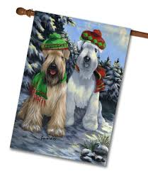Monogram House Flags Wheaten Terrier Snow Dog House Flag 28 U0027 U0027 X 40 U0027 U0027 Custom