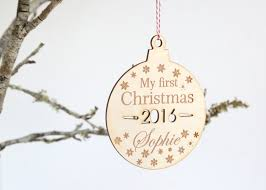 personalised first christmas wooden christmas tree decoration