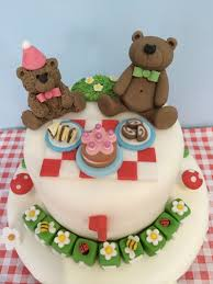 teddy bears picnic party 1st birthday personalised edible cake