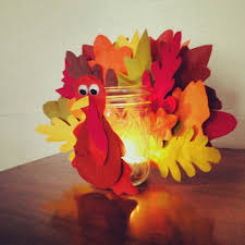 diy turkey jar craft with paper leaves for thanksgiving