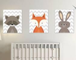 Raccoon Nursery Decor Baby Woodland Animal Fox Nursery Print Set Raccoon