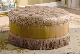 Floral Ottoman Floral Fabtic Ottoman W Accented Tufts Decorative Trim