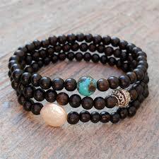 turquoise pearls bracelet images Ebony mala bracelets with freshwater pearl and turquoise guru jpg