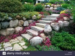fulda glow sedum lines stone steps through minnesota tiered garden