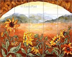 kitchen tile murals tile backsplashes sunflower kitchen decor tile murals backsplash of sunflowers
