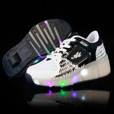 heelys light up shoes kids led light up heely wheels shoes white black sale for less