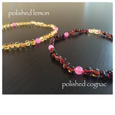 teething bead necklace images Baltic amber teething necklace pink jpg