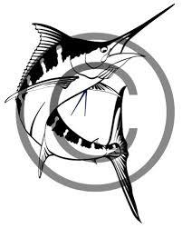 one color custom vector illustration of a jumping blue marlin