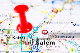 us capital cities on map series salem oregon or stock photo