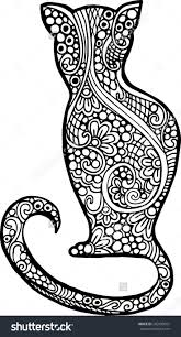 abstract doodle cat coloring page colouring cats dogs
