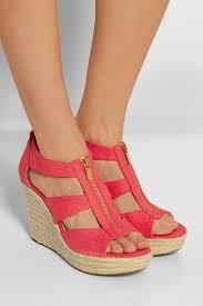 michael michael kors damita canvas wedge sandals in pink lyst