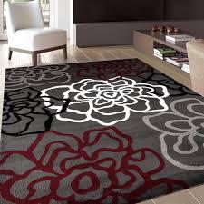 Polypropylene Area Rugs Contemporary Modern Floral Flowers And Grey Polypropylene Area