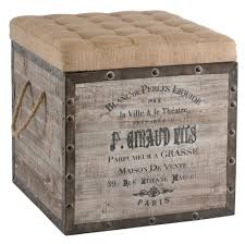 Cushioned Ottoman Country Vintage Crate Burlap Cushion Cube Storage Ottoman