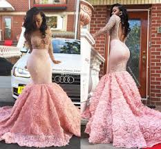 glittering pink backless mermaid prom dresses with beading rose