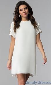 best graduation dresses white shift graduation party dress with cut outs
