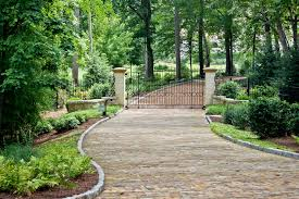 driveway entrance gates landscape traditional with columns entry