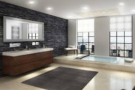 modern master bathroom design with black art stone wall home