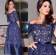2017 blue half long sleeve tea length short cocktail dresses full