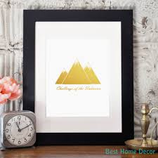 gold leaf home decor gold foil mountain decor nursery wall art poster challenge of the